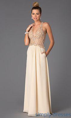 Sleeveless Floor Length V-Neck Dress by Shimmer at SimplyDresses.com
