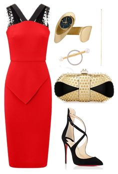 """Untitled #1546"" by onlyonedayatatime on Polyvore featuring Roland Mouret, Christian Louboutin, Yvonne Léon, Loren Stewart and Gübelin"
