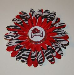 Arkansas Razorback Flower Clip