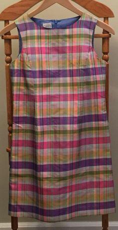 Talbot's Kids Girls Sz 12 Silk Pastel Plaid Fully Lined Sleeveless Dress #TalbotsKids