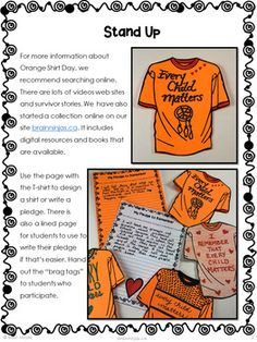 Orange Shirt Day Activities by Brain Ninjas Children's Day Activities, Matter Activities, Aboriginal Education, Indigenous Education, Every Child Matters, Brag Tags, Residential Schools, Preschool Lesson Plans, Primary Lessons