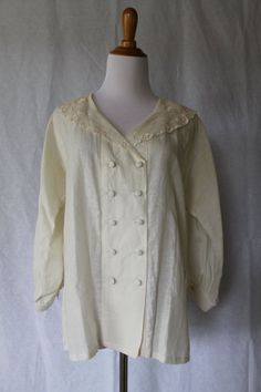 Vintage Laura Ashley Ivory linen Edwardian style Blouse w/ Lace collar UK12 US10 #LauraAshley