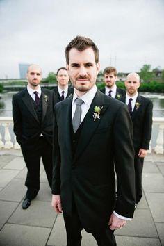 groom, black suits, groomsmen