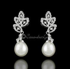 Pearl Drop Wedding Earrings with CZ Leaves
