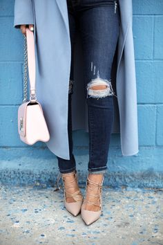Mackage Light Blue Wool Coat For Love & Lemons Sweater Frame Denim Ripped Skinny Jeans Jimmy Choo Lace Up Pumps Louis Vuitton Purse