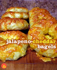Jalapeno-Cheddar Bagels: Soft and chewy bagels studded with fresh bits of jalapenos and covered in a blanket of crispy cheddar cheese!