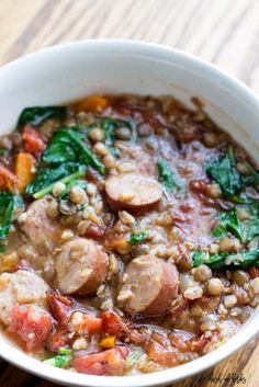 When you are on the go or busy during the week, try this lentil and farro sausage soup recipe. It's a great one pot meal for those busy weeknight dinners.