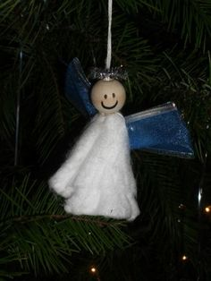 Unique Tampon Angel Christmas Ornament - Learn how to make a Christmas ornament out of a tampon.