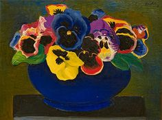 'Bouquet of Pansies' by Moise Kisling