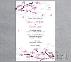 Spring Cherry Blossom Sakura -Flourishing Tree / Printable Wedding Invitation DIY asian oriental style