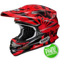 Shoei VFXW Motocross Helmet Dissent Red TC-1