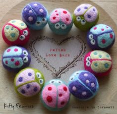Handmade Felt Love Bug Beads x1 Needle Felted Bug Valentines Gift