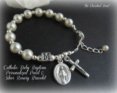 Personalized Baby Baptism Pearl & Sterling by TheCherishedBead
