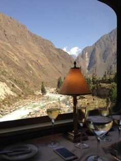 View from Hiram Bingham luxury train dining car on way to Machu Picchu