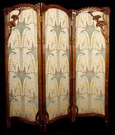 Art Nouveau – Paravent 'Ombelles' – 1900 - Home Professional Decoration Art Nouveau Interior, Design Art Nouveau, Art Nouveau Furniture, Antique Furniture, Belle Epoque, Decoration, Art Decor, Art Et Architecture, Decorative Screens