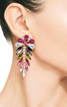 Signed 'Dimartino Originals' Multi-Colored Rhinestone Earrings by Carole Tanenbaum for Preorder on Moda Operandi