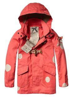 Polka dot raincoat.
