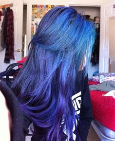 29 Blue Hair Color Ideas For Daring Women Long Dark Hair