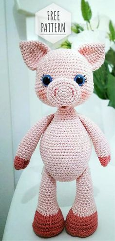 Mesmerizing Crochet an Amigurumi Rabbit Ideas. Lovely Crochet an Amigurumi Rabbit Ideas. Crochet Pig, Kawaii Crochet, Crochet Gratis, Crochet Amigurumi Free Patterns, Cute Crochet, Crochet Dolls, Crochet Classes, Crochet Projects, Amigurumi For Beginners