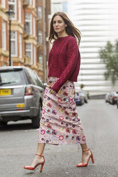 Valentine's Day Outfit Ideas   Patterned Skirt and Chunky Knit