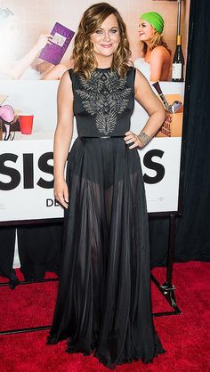Amy Poehler in a sheer black Tadashi Shoji dress