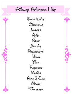 The Complete Disney Princess List (with trivia & a free printable)) Disney Princess List printable Disney Princess Movies List, Disney Princess Babies, Disney Princess Birthday Party, Disney Princess Drawings, Disney Princess Party, Disney Princess Dresses, Baby Shower Princess, Cinderella Party, List Of Princesses