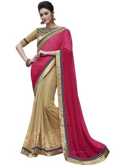 #Pink And #Beige #Satin #Chiffon And #Net #Brocade #Saree With #Blouse.  #Pink And #Beige #Satin #Chiffon And #Net #Brocade #Saree #designed with #Zari,#Resham #Embroidery.  INR: 2,110.00  With Exclusive Discounts  Grab: http://tinyurl.com/zv6dwst