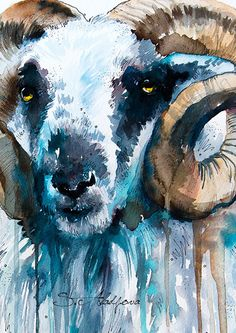 Sheep watercolor painting print goat animal by SlaviART on Etsy