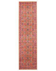 Jerash Coral & Persimmon Floral Runner Rug - Miss Amara (AU) Vintage Persian Rug, Rug Runner, Rug Styles, Buy Rugs, Floral Runner, Rugs, Boho Living, Colorful Rugs, Rugs Online