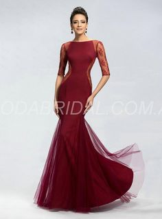 amodabridal.com.au SUPPLIES Central Coast Mermaid Glorious Style Bateau Neck Tulle Sheer Lace Burgundy Evening Gowns with Middle Sleeves Floor-Length Mother of the Bride Dresses