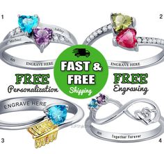 Engraved Birthstone Promise Rings For Her by 1UPStyleStore @ Etsy