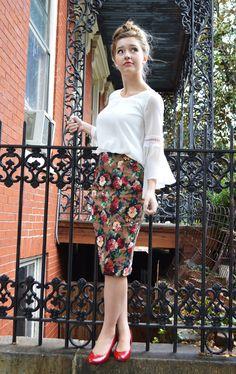Velvet pencil floral skirt