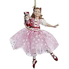 The Nutcracker Suite Clara in Pink Dress Holding Nutcracker Christmas Ornament
