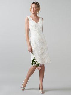 Buy Phase Eight Bridal Ines Tapework Wedding Dress, Antique Cream Online at johnlewis.com