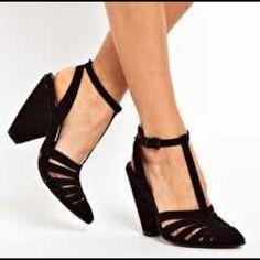ASOS t-strap black suede heels block heel NEVER WORN. T-strap, 4 1/2 inch heel. Perfect condition. Size says 7, is an 8. ASOS Shoes Heels