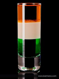 St. Patrick's Day Irish Flag Cocktail |       1 oz (3.38 cl) Brandy      1 oz (3.38 cl) Crème de Menthe      1 oz (3.38 cl) Bailey's Irish Cream (Irish Cream)        To make an Irish Flag, a popular St Patricks day drink, layer in order the creme de menthe, followed by irish cream and finally brandy.