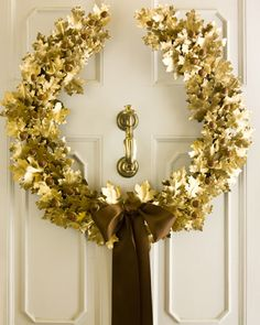 Gilded Oak-Leaf Wreath-Martha Stewart