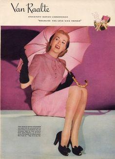 ✿ Lovely pink filled 1944 Van Raalte stockings ad. #vintage #1940s #stockings #hoisery #spring #fashion ✿