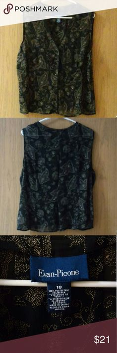 """SZ.18 EVAN-PICONE Sleeveless Button-Up Blouse Sheer sleeveless top with button-up v-neck front and hidden pleat detail in the back. Tan & white paisley-type pattern in black.  Shoulder to hem measures 24"""". Side to side at armpit is 26"""". Evan Picone Tops Blouses"""