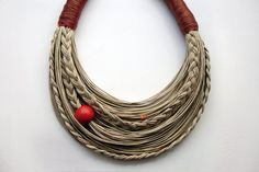 Cinnamon and Natural  Statement  fiber necklace Spring - Summer Collection. $43.00, via Etsy.