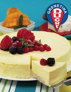 Pastel de queso con mango Cheesecake Cake, Cheesecake Recipes, Sweet Desserts, Delicious Desserts, Dessert Drinks, Dessert Recipes, German Cake, Flan Recipe, Pastry Cake