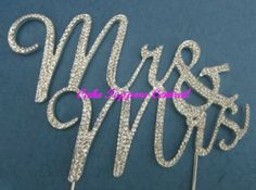 Mr & Mrs Diamonte Crystal Rhinestone Bling Cake Topper - wedding