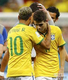 巴西隊球員難掩失落。(圖/騰訊體育)