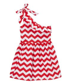 Wholesale - Red One- Shoulder Chevron Shift Dress