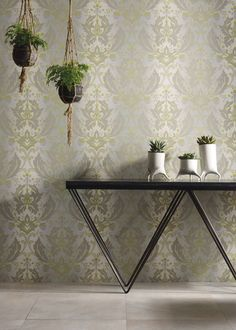 An ombre damask given a new interpretation in modern lime against grey. Printed on an easy-to-hang non-woven base. The Matthew Williamson Grey & Lime Viceroy Wallpaper.