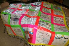 quilt using gallon sized baggies and patterned/colored duct tape - could use for ALL KINDS of things!!!