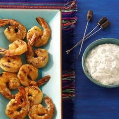 """Grilled Chipotle Shrimp Recipe -""""I created this recipe for a Cinco de Mayo party, and it was a hit! It's so easy, yet has a serious 'wow' factor. The creamy dipping sauce mellows out the shrimp's heat perfectly. Shrimp Dishes, Shrimp Recipes, Fish Recipes, Appetizer Recipes, Great Recipes, Favorite Recipes, Seafood Appetizers, Aloo Recipes, Egg Recipes"""