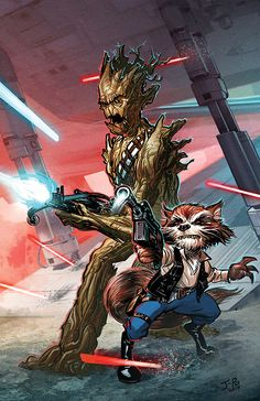 I was a massive Star Wars fan, but I'm looking forward to GOTG more than the new trilogy.  So...this is a happy medium. | Rocket Raccoon & Groot as Han Solo and Chewbacca