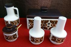 Vintage / Retro - HORNSEA - Salt and Pepper Cruet Set Vinegar Mustard Pot etc.