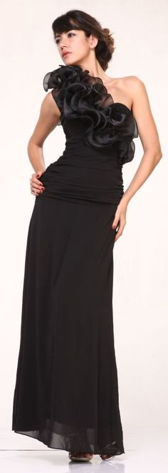 Sexy Long Black Dress Prom Chiffon Ruffle One Shoulder Tight Fitting $147.99